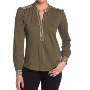Lucky Brand Embroidered Henley